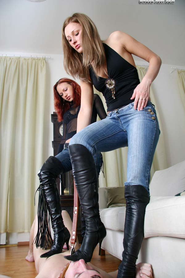 Leather foot domination